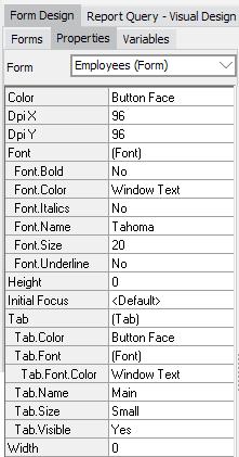 Form Design - Form Properties