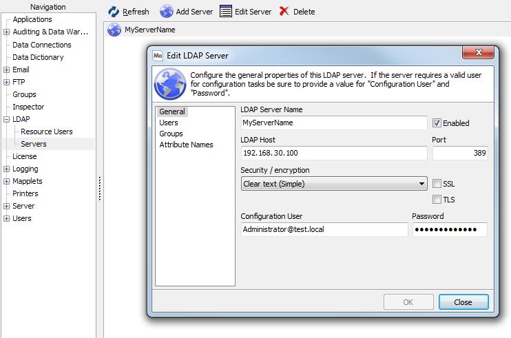 LDAP Server Configuration