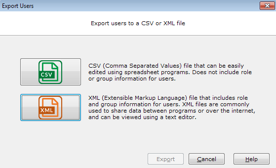 XML File Format for Importing and Exporting Users