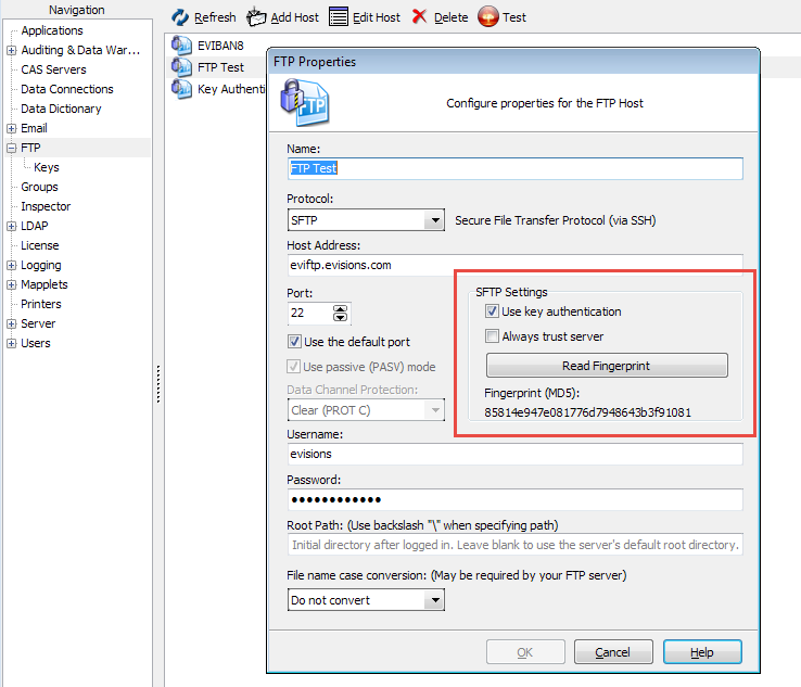 Public/Private Key Authentication for SFTP